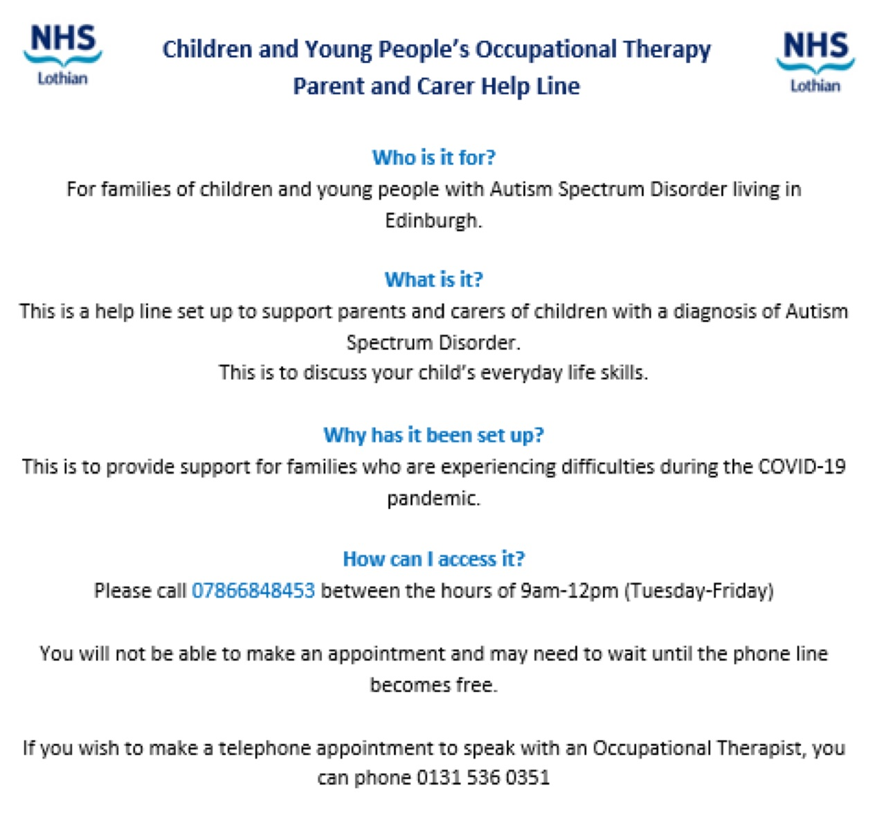 Children and Young People's occupational therapy/ Parent and Carer Help Line